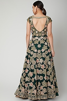 Emerald Green Aari Work Embroidered Gown by Tamaraa By Tahani