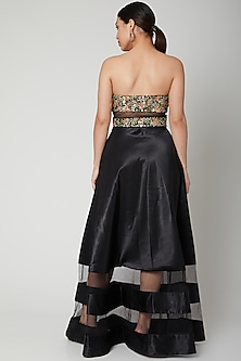 Black Embroidered Off Shoulder Gown by Tamaraa By Tahani