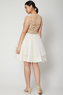 White Embroidered Skater Dress by Tamaraa By Tahani