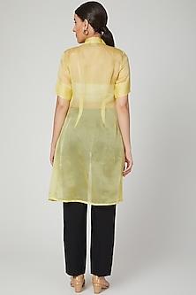 Yellow Sheer Embroidered Jacket by Tamaraa By Tahani