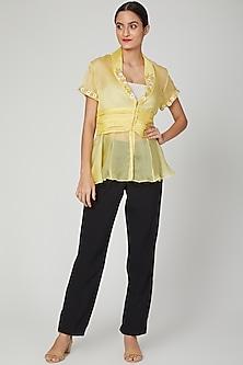 Yellow Sheer Aari Embroidered Jacket by Tamaraa By Tahani