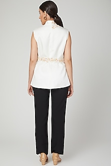 White Floral Embroidered Jacket by Tamaraa By Tahani