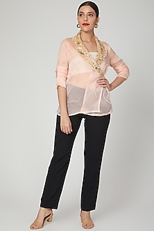 Blush Pink Embroidered Wrap Jacket by Tamaraa By Tahani