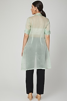 Mint Green Embroidered Sheer Jacket by Tamaraa By Tahani