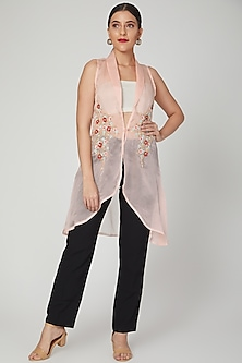 Blush Pink Embroidered Jacket by Tamaraa By Tahani