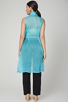 Sky Blue Sheer Embroidered Jacket by Tamaraa By Tahani