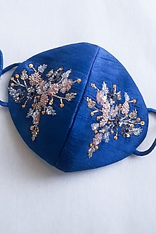 Blue Embellished Layered Mask With Pouch by Tamaraa By Tahani