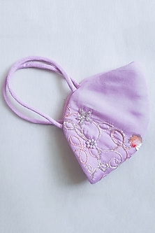 Sweet Lilac Embellished Layered Mask With Pouch by Tamaraa By Tahani
