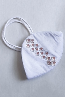 White Embellished Layered Mask With Pouch by Tamaraa By Tahani