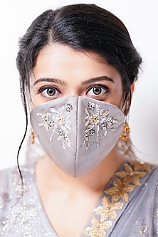 Grey Embellished Layered Mask With Pouch by Tamaraa By Tahani
