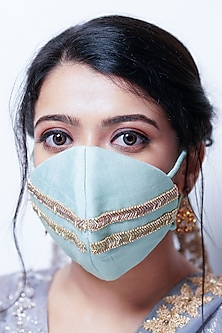 Green Embellished Layered Mask With Pouch by Tamaraa By Tahani