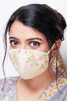 Beige Embellished Layered Mask With Pouch by Tamaraa By Tahani