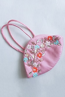 Pink Embellished Layered Mask With Pouch by Tamaraa By Tahani