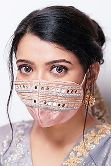 Peach Floral Embellished Layered Mask With Pouch by Tamaraa By Tahani