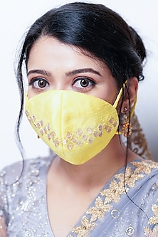 Yellow Floral Embellished Layered Mask With Pouch by Tamaraa By Tahani