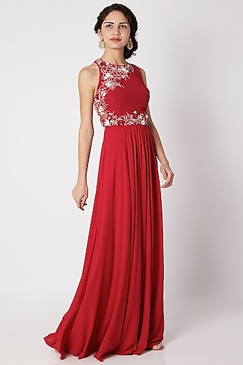 Red Floral Embroidered Cross-Back Gown by Tamaraa By Tahani