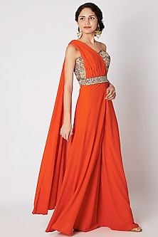 Orange One-Shoulder Drape Jumpsuit by Tamaraa By Tahani