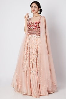 Pink & Red Embroidered Draped Gown by Tamaraa By Tahani