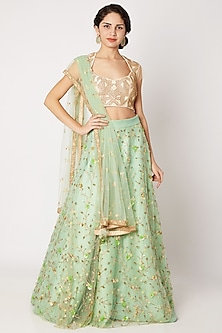 Beige & Green Embroidered Lehenga Set With Attached Dupatta by Tamaraa By Tahani