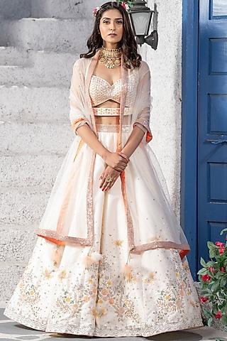 White Embroidered Handcrafted Lehenga Set by Tamaraa By Tahani