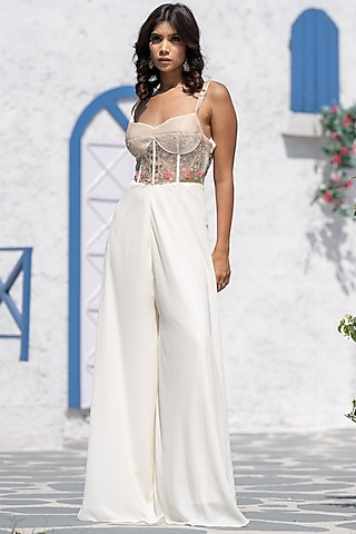 White Embroidered Handcrafted Jumpsuit by Tamaraa By Tahani
