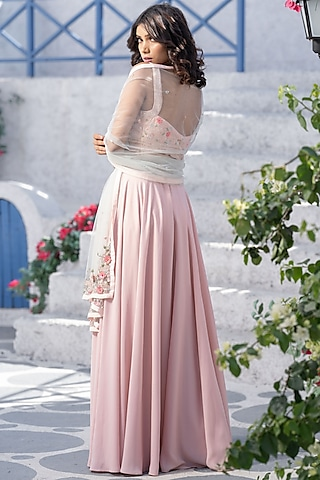 Blush Pink Floral Embroidered Handcrafted Lehenga Set by Tamaraa By Tahani