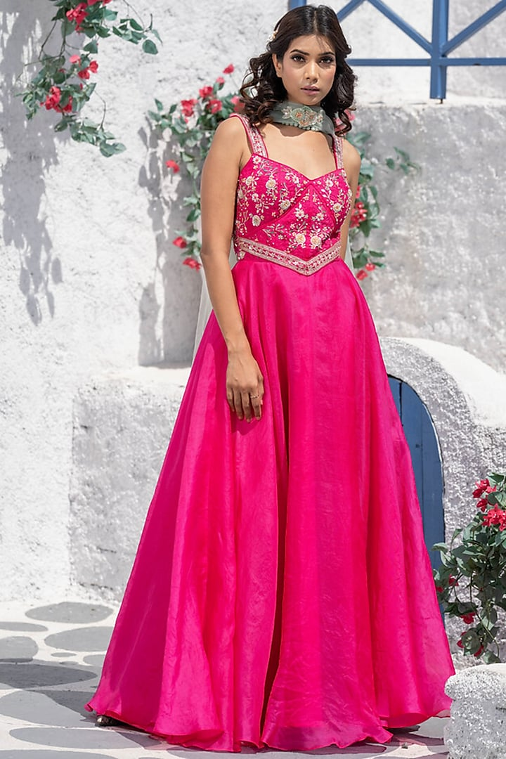 Pink Floral Embroidered Anarkali Set by Tamaraa By Tahani