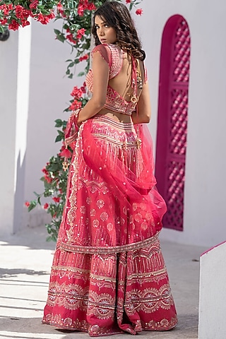 Blush Pink Embroidered Handcrafted Lehenga Set by Tamaraa By Tahani