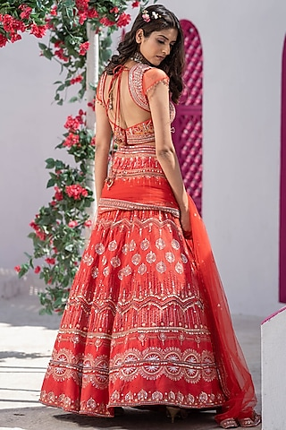 Red Embroidered Handcrafted Lehenga Set by Tamaraa By Tahani