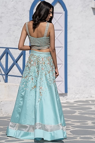 Turquoise Embroidered Paneled Lehenga Set by Tamaraa By Tahani