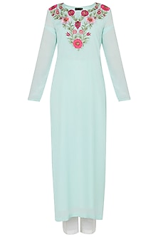 Mint Green Embroidered Kurta with White Straight Pants Set by Trisha Dutta