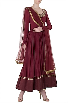 Plum Embroidered Anarkali Set by Trisha Dutta