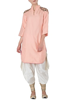Peach Embroidered Kurta with Off White Drape Dhoti Pants by Trisha Dutta