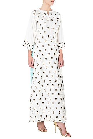 Off White Embroidered Long Kurta with Blue Shibori Salwar by Trisha Dutta
