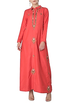 Vermilion Red Embroidered Drape Maxi Dress by Trisha Dutta