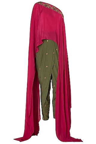 Fuschia Pink Embroidered One Shoulder Top with Olive Green Dhoti Pants by Trisha Dutta