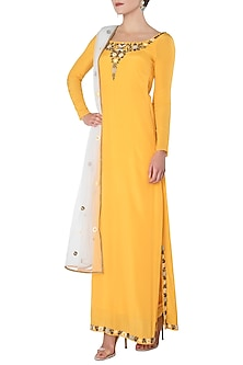 Turmeric Yellow Embroidered Kurta with Salwar Pants Set by Trisha Dutta