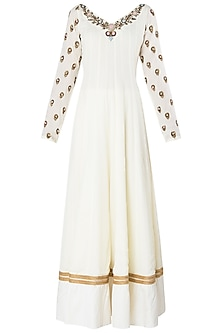 Off White Embroidered Anarkali Set by Trisha Dutta