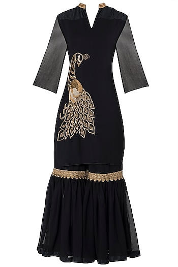Black Embroidered Kurta with Gharara Pants Set by Trisha Dutta