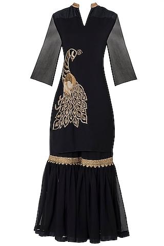 Black Embroidered Kurta with Gharara Pants Set by Trisha Dutta