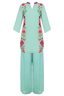 Mint Green Floral Embroidered Kurta with Palazzo Pants Set by Trisha Dutta