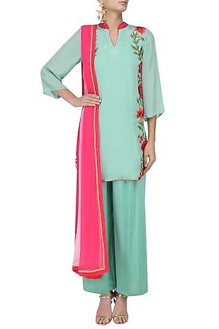 Mint Green Floral Embroidered Kurta with Palazzo Pants Set by Trisha Dutta