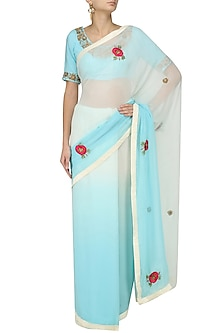 Offwhite and Sky Blue Ombre Floral Motif Saree with Embroidered Blouse by Trisha Dutta