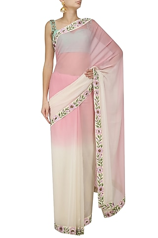 Off White and Baby Ombre Floral Motif Saree with Embroidered Blouse by Trisha Dutta