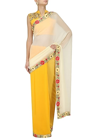 Apricot and Off-White Ombre Floral Motif Saree with Embroidered Blouse by Trisha Dutta