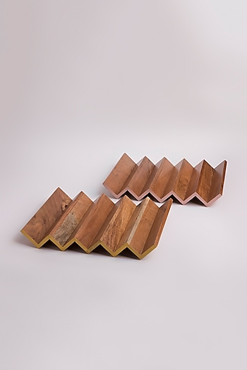 Acacia Wood Zig Zag Tray (Set of 2) by Tessera Home