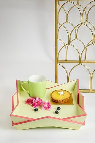 Acacia Wood Orimono Lotus Tray Set (Set of 2) by Tessera Home