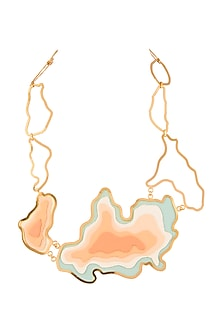 Gold Plated Canyon Topography Necklace by Tessera Jewellery