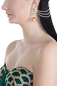 Gold Finish Handcrafted Pachi Kundan & Pearl Earrings by Tipsyfly