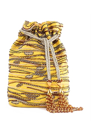 Yellow Embroidered Rectangular Potli Bag by The Garnish Company